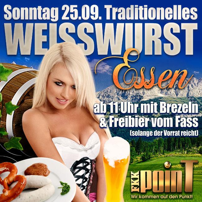 Sonntag, den 25.09.: Traditionelles Weißwurstessen mit Brezeln und Freibier vom Fass!