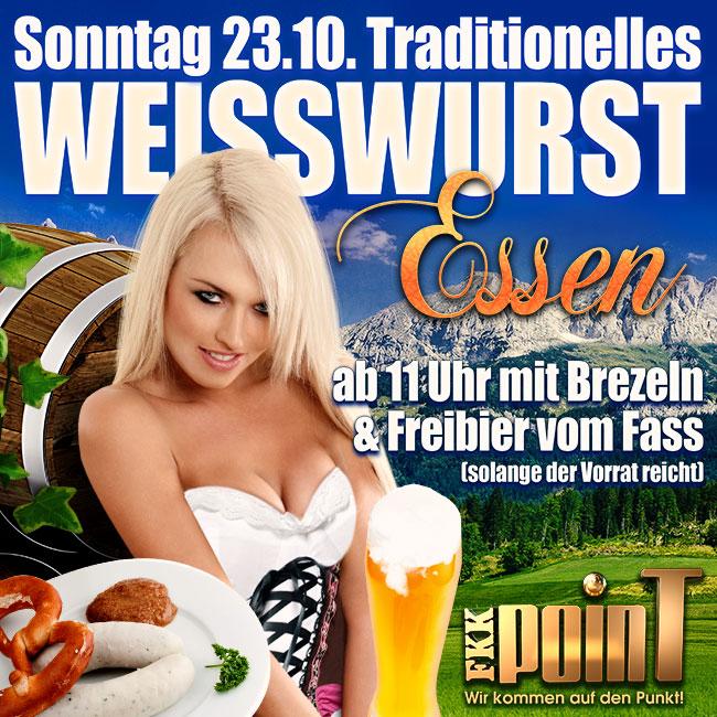 Sonntag, den 23.10.: Traditionelles Weißwurstessen mit Brezeln und Freibier vom Fass!
